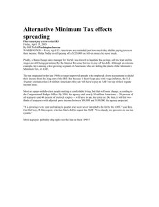 Alternative Minimum Tax effects spreading