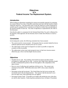 Objectives of a Federal Income Tax Replacement System. Introduction