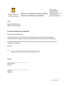 Marcel A. Desautels Faculty of Music Division of Preparatory Studies
