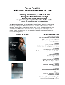 Poetry Reading Al Hunter:  The Recklessness of Love