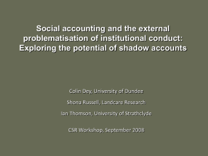 Social accounting and the external problematisation of institutional conduct: