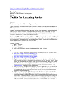 Toolkit for Restoring Justice   Teaching Tolerance