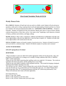 First Grade Newsletter Week of 4/11/16 Weekly Themes/Units: