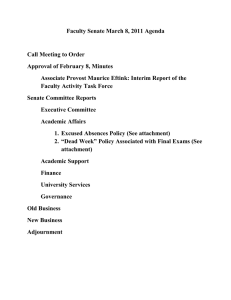 Faculty Senate March 8, 2011 Agenda  Call Meeting to Order