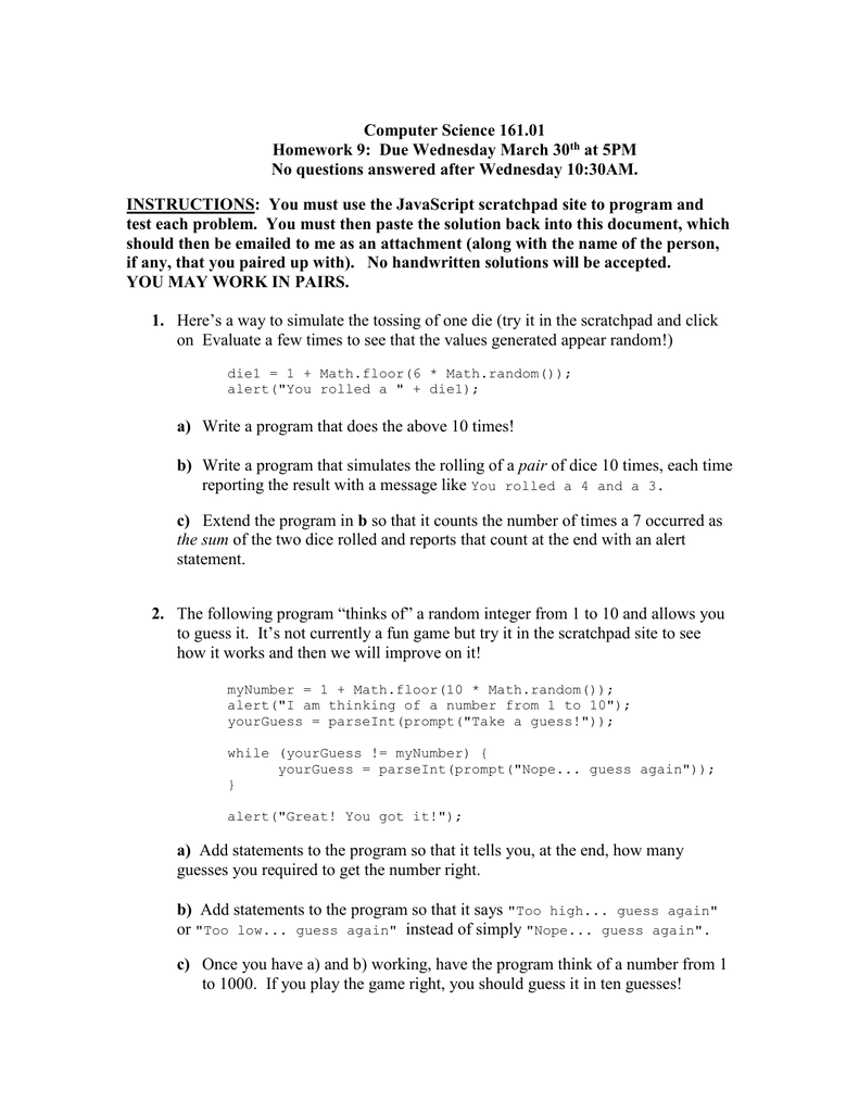 Computer Science 161 01 Homework 9: Due Wednesday March 30 at 5PM