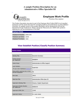 Employee Work Profile A sample Position Description for an Position Description
