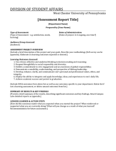 DIVISION OF STUDENT AFFAIRS  [Assessment Report Title] West Chester University of Pennsylvania