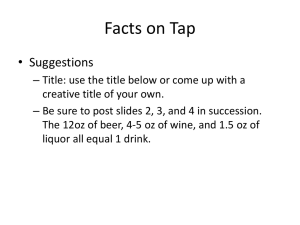 Facts on Tap • Suggestions