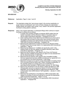 ALBERTA ELECTRIC SYSTEM OPERATOR Ancillary Services Article Amendment (1357161)