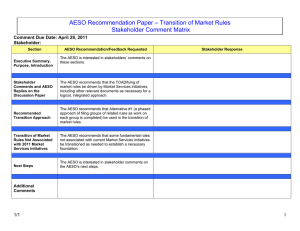 – Transition of Market Rules AESO Recommendation Paper Stakeholder Comment Matrix