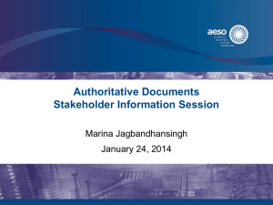 Authoritative Documents Stakeholder Information Session Marina Jagbandhansingh January 24, 2014