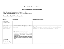 Stakeholder Comment Matrix  Market Suspension Discussion Paper Date of request for comment