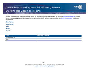 Stakeholder Comment Matrix Directive Performance Requirements for Operating Reserves Stakeholder: Organization: