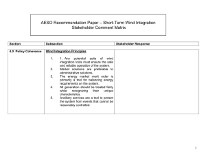 – Short-Term Wind Integration AESO Recommendation Paper Stakeholder Comment Matrix