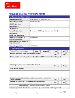 TFO Letter Head PROJECT CHANGE PROPOSAL FORM