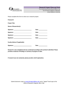 Research Project Close-out Form