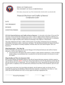Financial Disclosure and Conflict of Interest Certification Letter O
