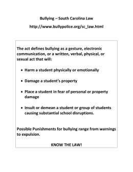 Bullying – South Carolina Law