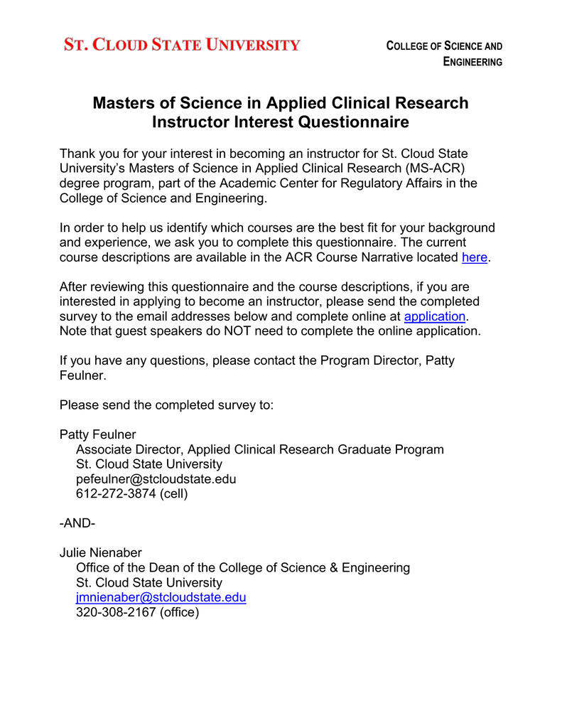 Masters of Science in Applied Clinical Research Instructor