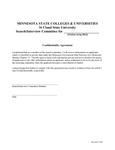 MINNESOTA STATE COLLEGES & UNIVERSITIES St Cloud State University