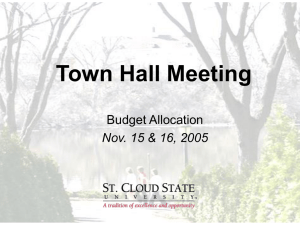 Town Hall Meeting Budget Allocation Nov. 15 & 16, 2005