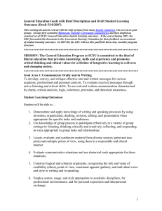 General Education Goals with Brief Descriptions and Draft Student Learning