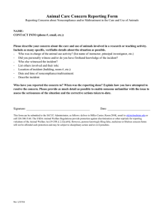 Animal Care Concern Reporting Form