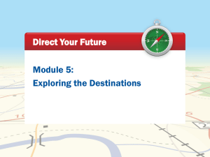 Module 5: Exploring the Destinations Direct Your Future