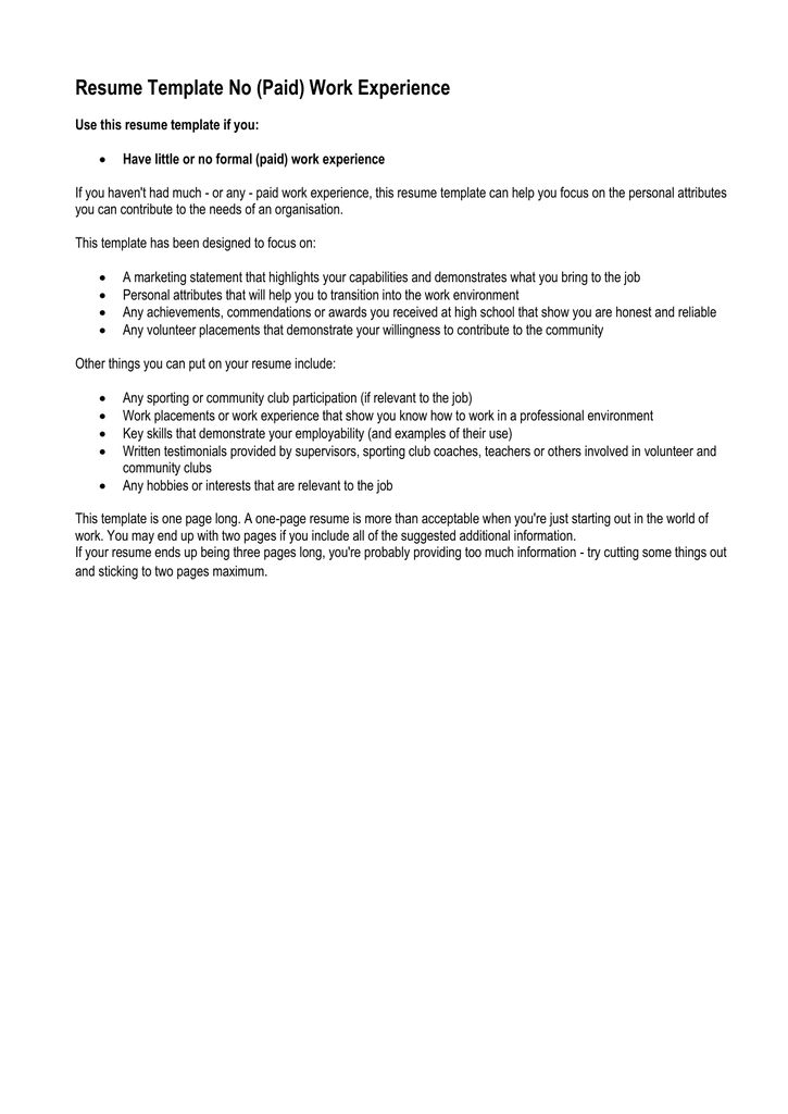 Resume Template No Paid Work Experience