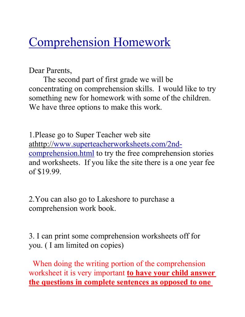- Comprehension Homework