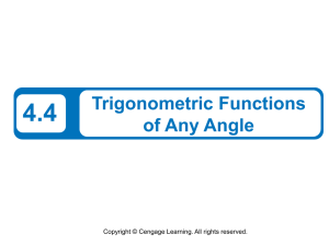 4.4 Trigonometric Functions of Any Angle Copyright © Cengage Learning. All rights reserved.