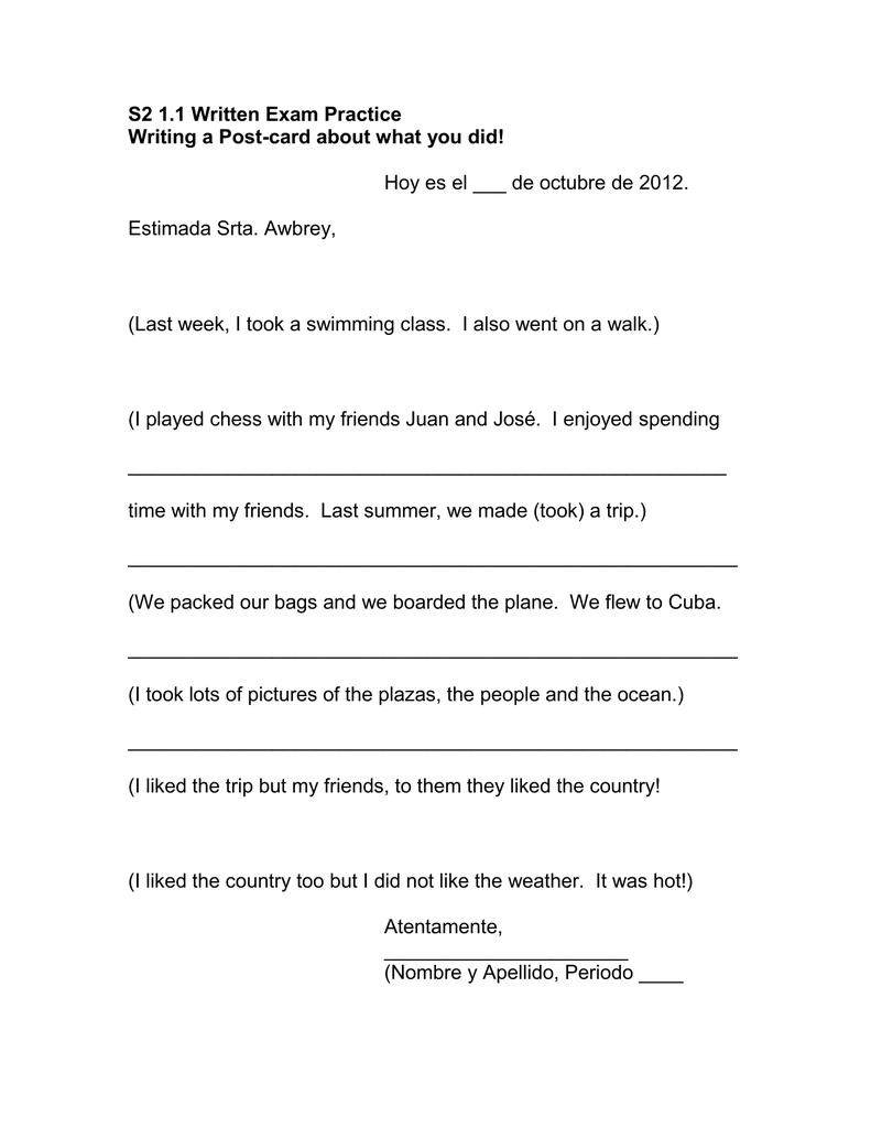 S2 1 1 Written Exam Practice
