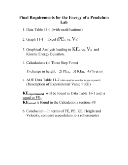 PE V KE Final Requirements for the Energy of a Pendulum