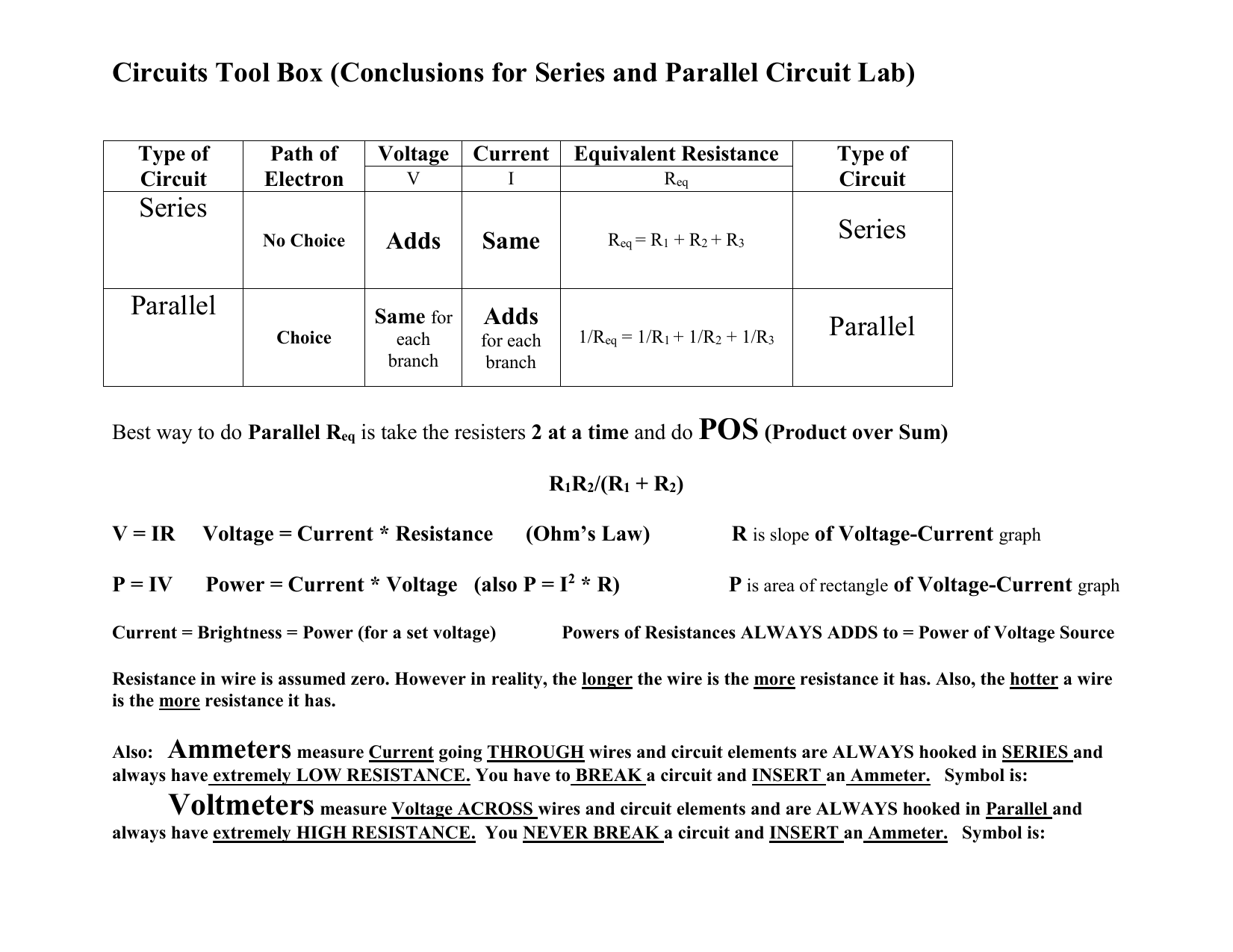 Pos Circuits Tool Box Conclusions For Series And Parallel Circuit Resistance In A Lab