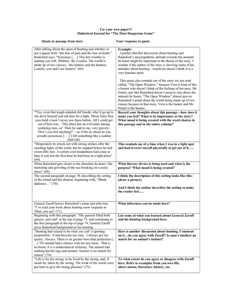 worksheet The Most Dangerous Game Worksheet use your own paper dialectical journal for most dangerous dangerous