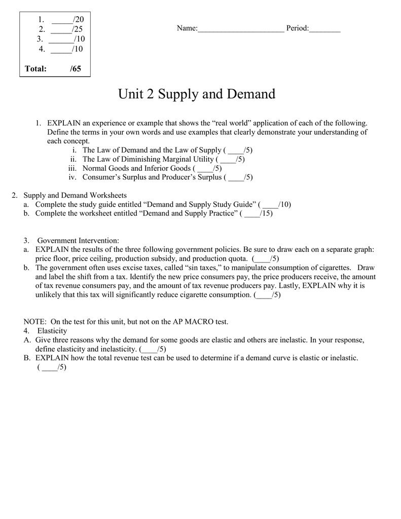 Worksheets Supply And Demand Worksheets unit 2 supply and demand 1 20 25