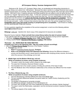 summer assignment ap european history Bayside academy advanced english 10 and ap european history 2018 assignment—page 1  advanced english 10 summer 2018 assignment mrs katie ray.