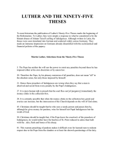 LUTHER AND THE NINETY-FIVE THESES