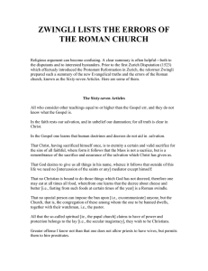ZWINGLI LISTS THE ERRORS OF THE ROMAN CHURCH