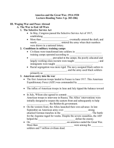 America and the Great War, 1914-1920 Lecture-Reading Notes 3 (p. 203-206)