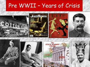 Pre WWII – Years of Crisis