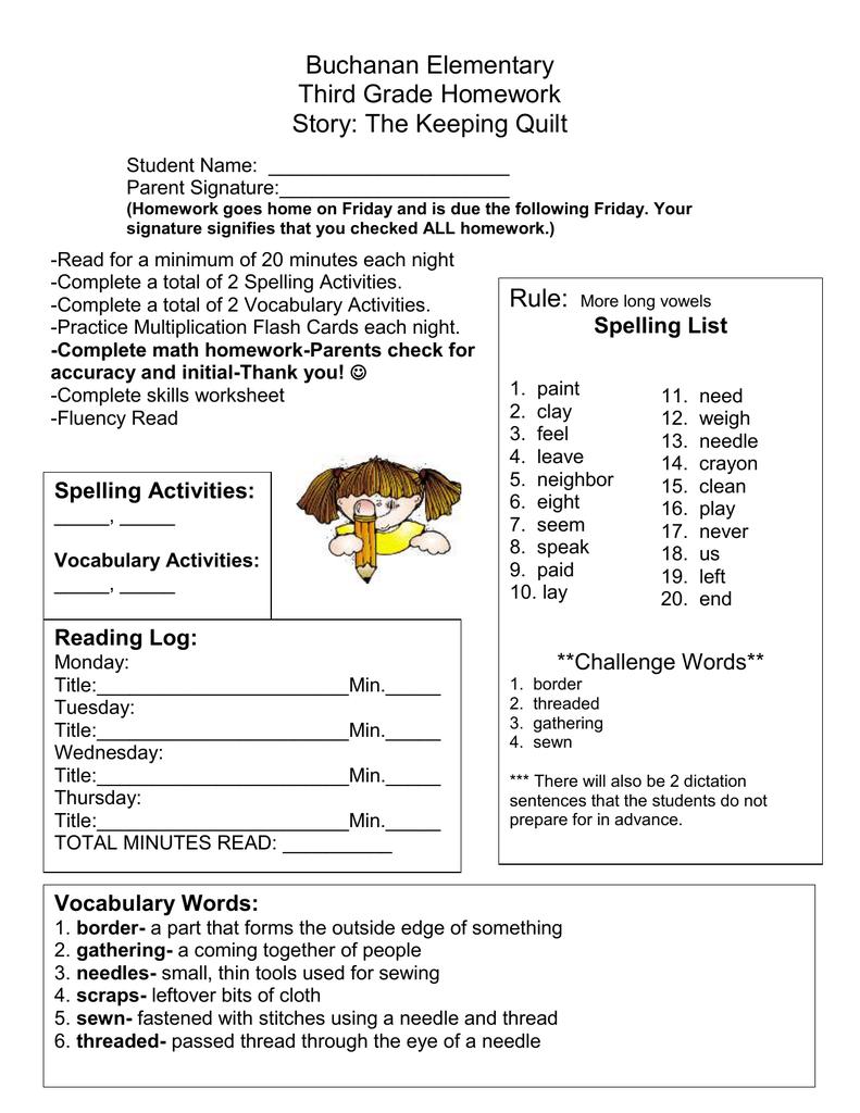 Buchanan Elementary Third Grade Homework Story: The Keeping Quilt
