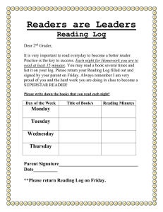 Readers are Leaders Reading Log