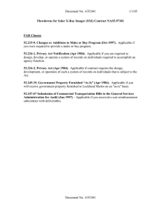 Document No. ATC041 1/1/05 Flowdowns for Solar X-Ray Imager (SXI) Contract NAS5-97181