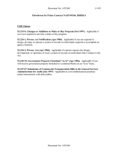 Document No. ATC043 1/1/05 Flowdowns for Prime Contract NAS5-99244, HIRDLS