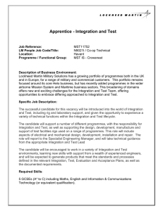 Apprentice - Integration and Test
