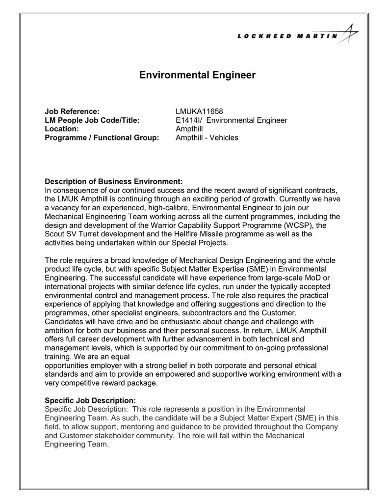 Environmental Engineer Job Description | Environmental Engineer