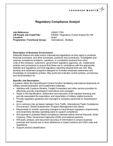 Regulatory Compliance Analyst