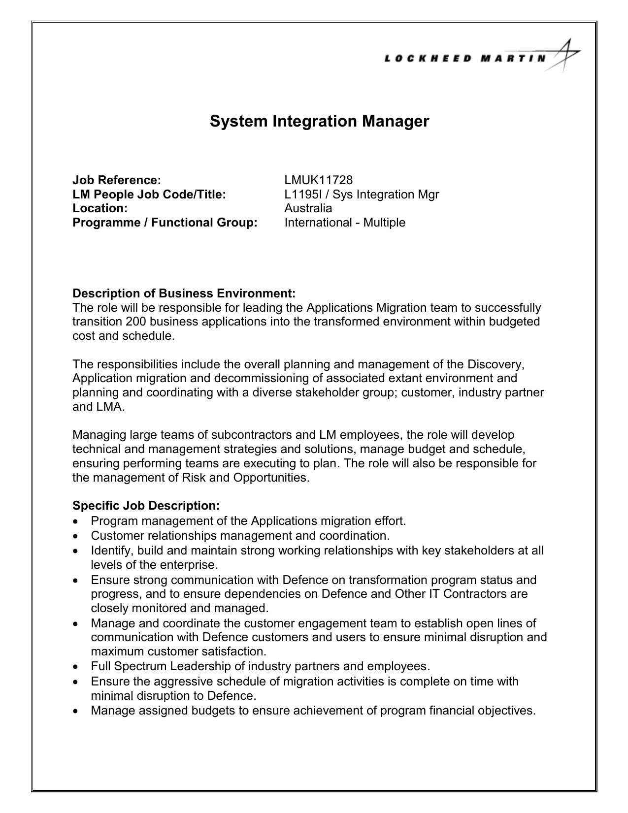 System Integration Manager