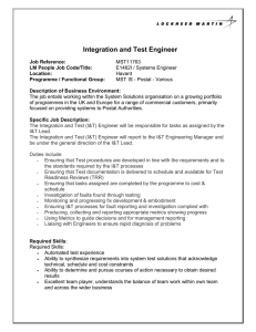 Integration and Test Engineer